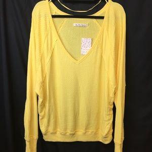 Free People Yellow Shirt Santa Clara Thermal M/L